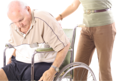 A old man sitting on the wheelchair